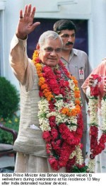Vajpayee in garlands